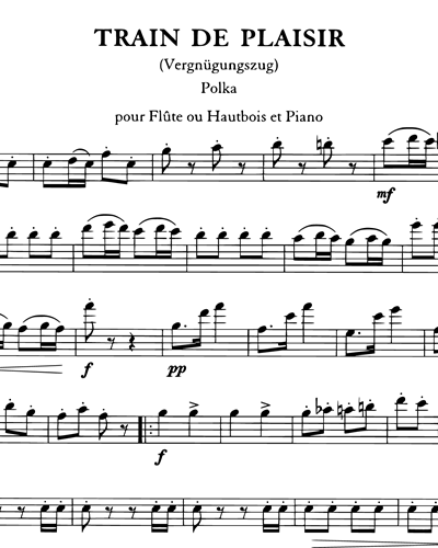 Train De Plaisir Polka pour Flûte ou Hautbois et Piano
