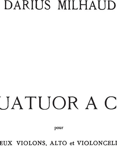 Quatuor à Cordes No. 15, Op. 291
