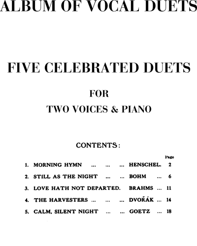 Five celebrated duets (Album of vocal duets)