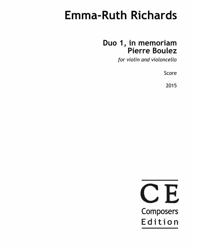 Duo 1, in memoriam Pierre Boulez