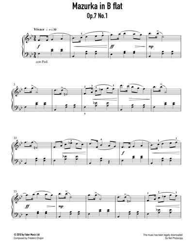 Mazurka in B Flat Op.7 No. 1