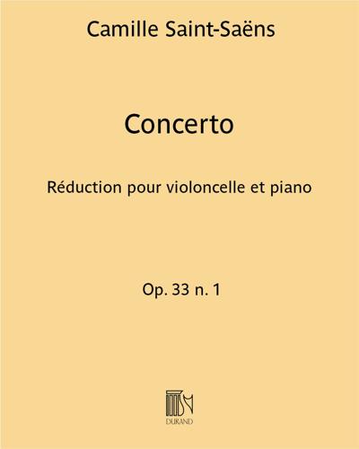 Concerto Op. 33 n. 1 - Réduction pour violoncelle et piano
