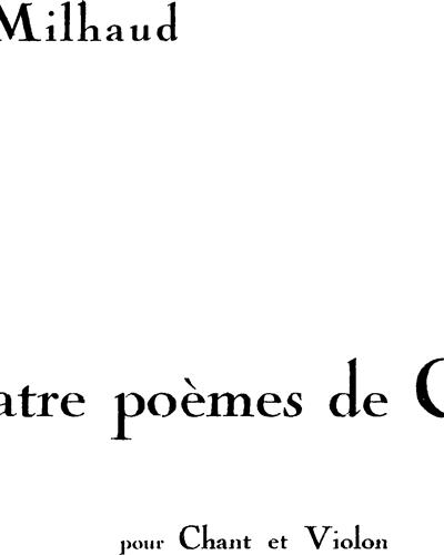 4 Poèmes de Catulle Op. 80