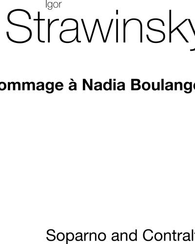 Hommage à Nadia Boulanger