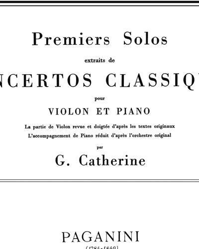 Concerto No. 1 (Premiers Solos extraits de Concertos Classiques)