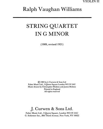 String Quartet in G minor [Revised 1921]