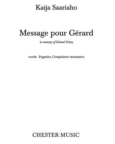 Message pour Gérard