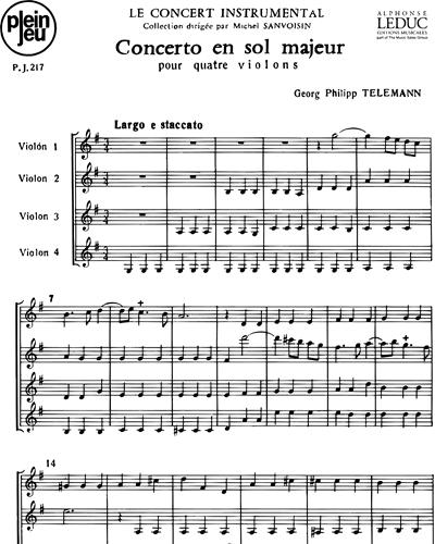 Concerto in Sol majeur pour Quatre Violons