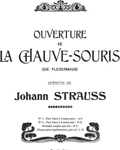 Ouverture de La Chauve-Souris (Die Fledermaus) Transcription pour Piano