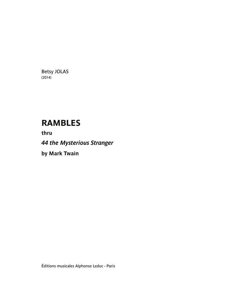 Rambles thru 44 the Mysterious Stranger