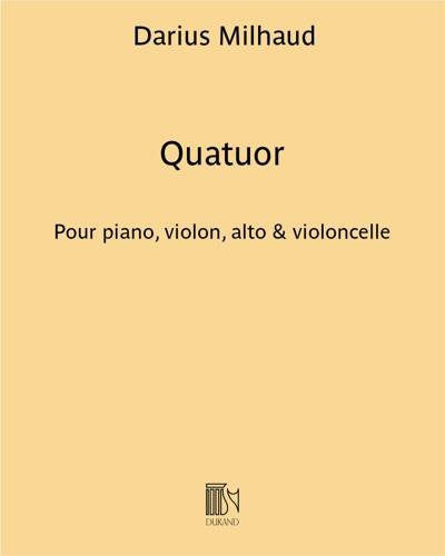 Quatuor pour piano, violon, alto & violoncelle