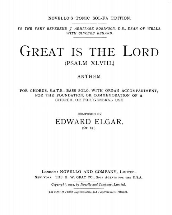 Great is the Lord (Psalm 48), Op. 67