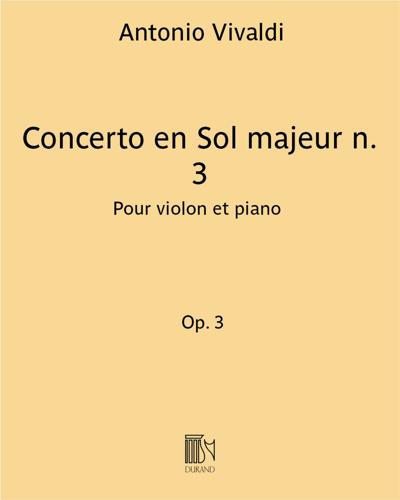 Concerto en Sol majeur Op. 3 n. 3