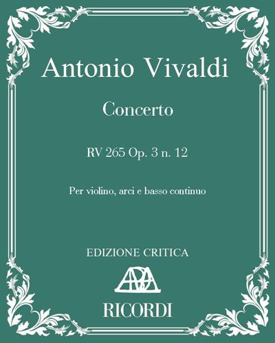Concerto RV 265 Op. 3 n. 12