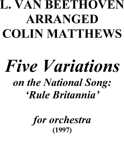 Five Variations on the National Song: 'Rule Britannia'