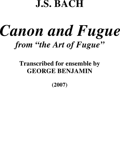 Canon and Fugue (from The Art of Fugue)