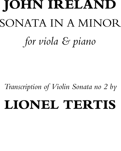 Sonata in A minor for Viola & Piano