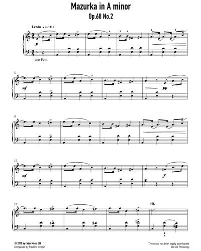 Mazurka in A Minor Op.68 No.2
