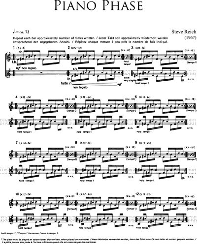 Steve Reich: Piano Phase sheet music | nkoda