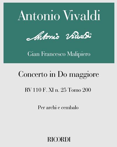 Concerto in Do maggiore RV 110 F. XI n. 25 Tomo 200