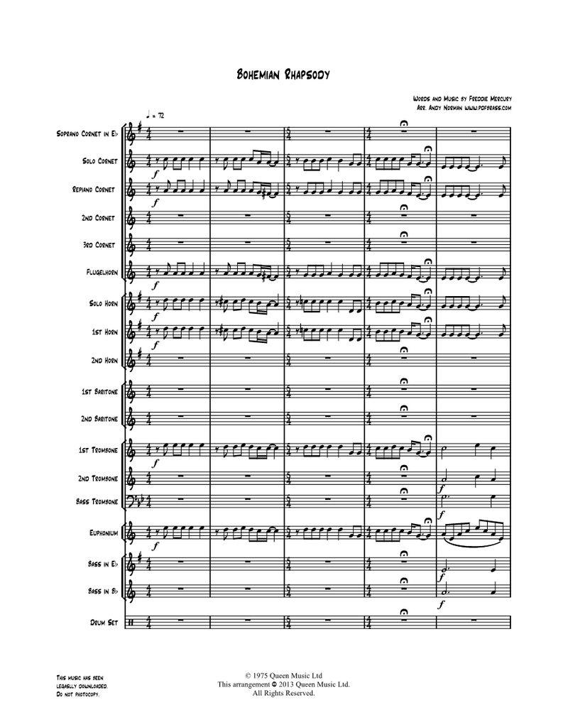 Bohemian Rhapsody - for Brass Band