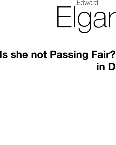 Is she not Passing Fair? No. 1/3 (in D)