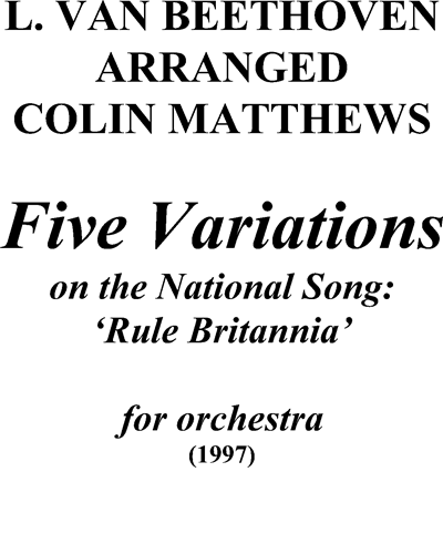 Five Variations on the National Song: Rule Britannia
