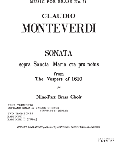 "Sonata sopra Sancta Maria ora pro nobis (from ""The Vespers"" of 1610)"