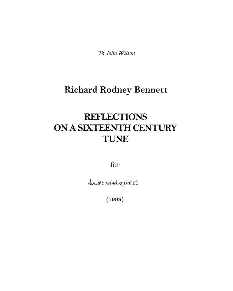 Reflections on a Sixteenth Century Tune