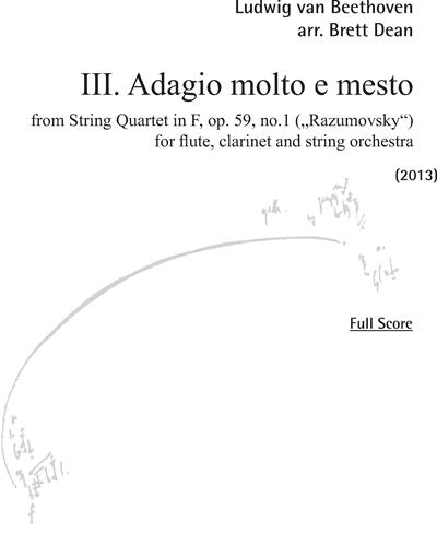 """Adagio molto e mesto (Nr. 3 from """" String Quartet in F, Op. 59, No. 1"""" )"""