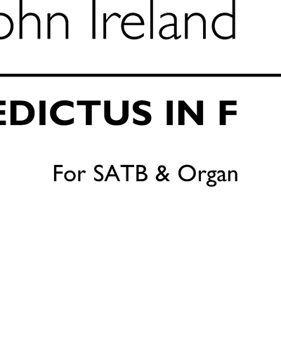 Benedictus in F for SATB & Organ