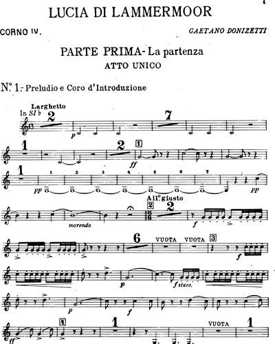 Vocal Score Lucia Di Lammermoor