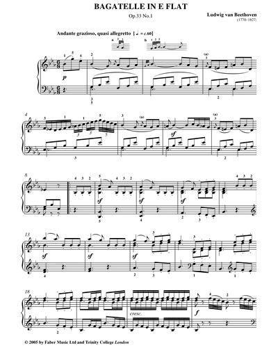 Bagatelle In E Flat Op.33 No.1