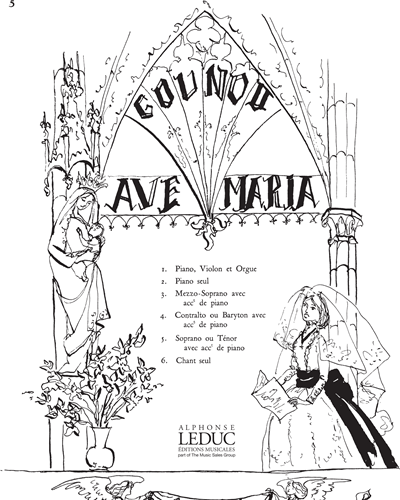 Ave Maria No. 5 pour Soprano ou Ténor et Piano