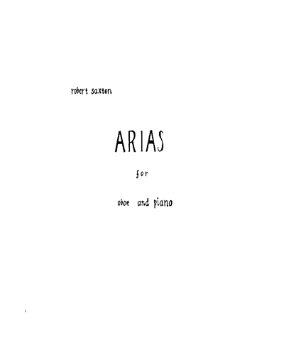 Arias for Oboe and Piano