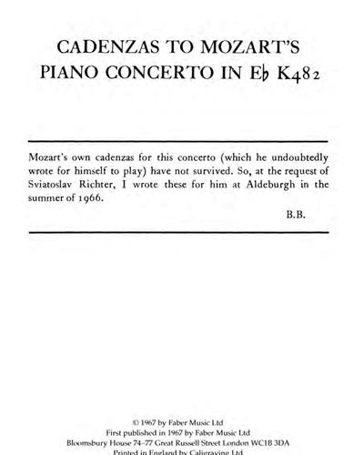 Cadenzas to Mozart's Piano Concerto K482
