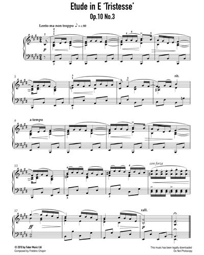 Etude in E 'Tristesse' Op.10 No.3