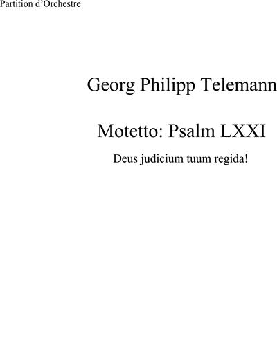 Motet 'deus Judicium Tuum Regida!' Psaume 71