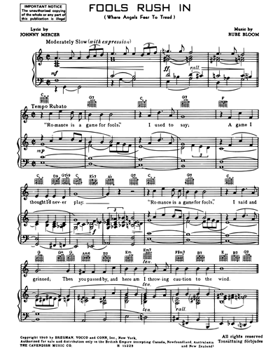 fools rush in (in c) vocal score sheet music by rube bloom   nkoda  nkoda