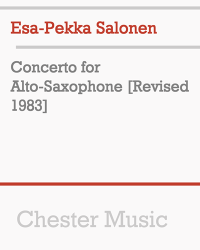Concerto for Alto-Saxophone [Revised 1983]