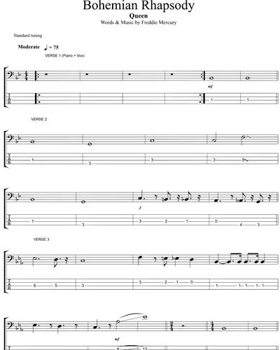 Queen Bohemian Rhapsody Bass Guitar Sheet Music Nkoda