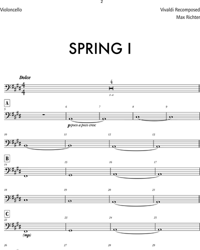Max Richter The Four Seasons Recomposed Spring 1 Cello Sheet Music Nkoda