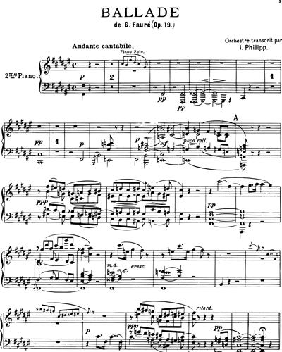 Ballade Op. 19 pour Piano et Orchestre