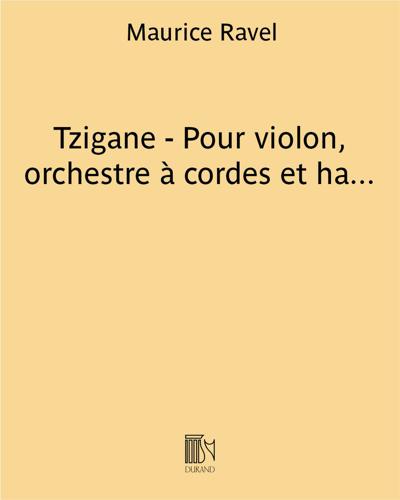 Tzigane - Pour violon, orchestre à cordes et harpe