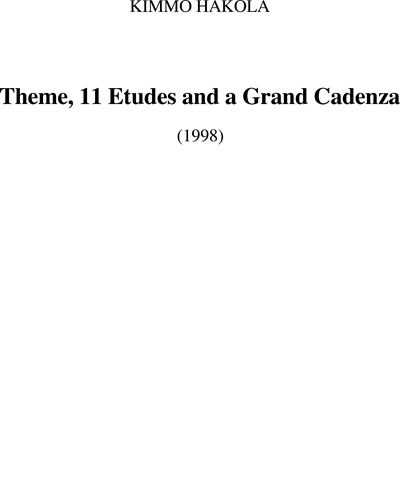Theme, 11 Etudes and Grand Cadenza