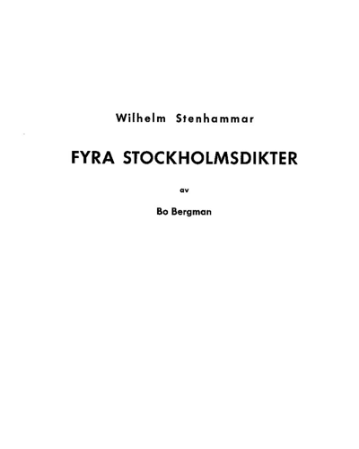 Four Stockholm Poems