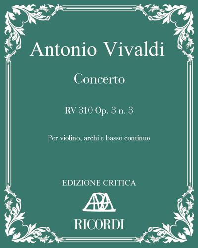 Concerto RV 310 Op. 3 n. 3