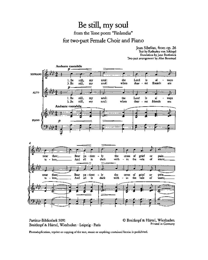 Be still, my soul (Ausgabe für zweistimmigen Frauenchor und Klavier)