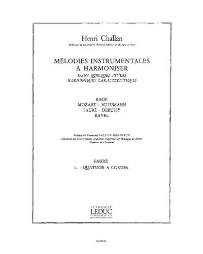 Mélodies instrumentales à harmoniser, Vol. 11: Fauré
