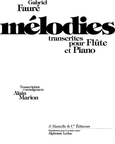 Mélodies transcrites pour Flûte et Piano
